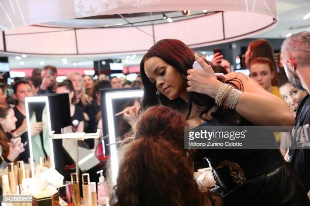 Rihanna attends Sephora loves Fenty Beauty by Rihanna store event on April 5 2018 in Milan Italy