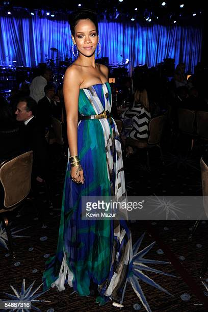 Rihanna attends the 2009 GRAMMY Salute To Industry Icons honoring Clive Davis at the Beverly Hilton Hotel on February 7 2009 in Beverly Hills...