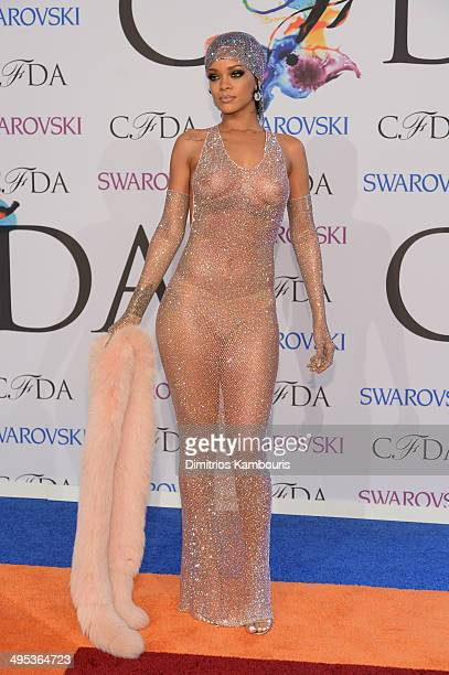 Rihanna attends the 2014 CFDA fashion awards at Alice Tully Hall Lincoln Center on June 2 2014 in New York City