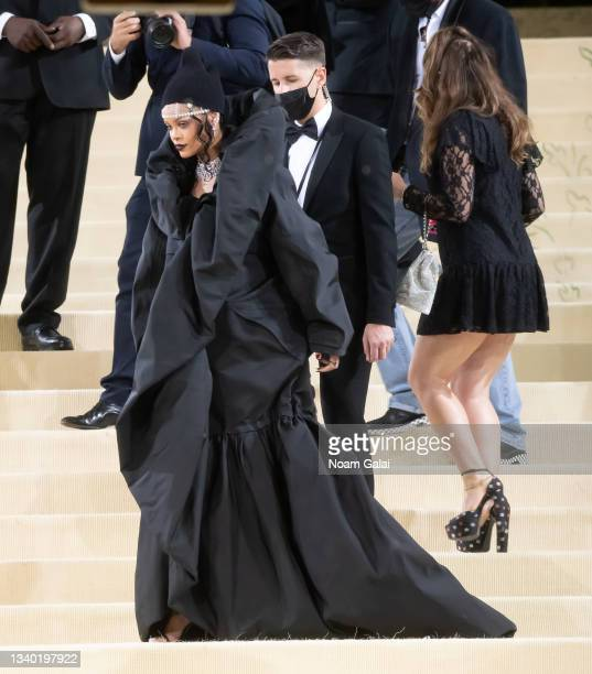 Rihanna attends the 2021 Met Gala celebrating 'In America: A Lexicon of Fashion' at The Metropolitan Museum of Art on September 13, 2021 in New York...