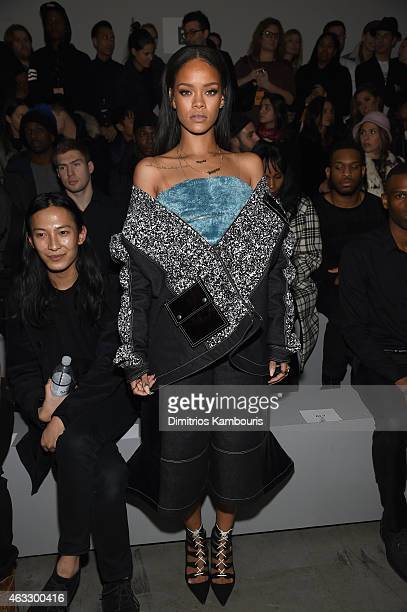 Rihanna attends the adidas Originals x Kanye West YEEZY SEASON 1 fashion show during New York Fashion Week Fall 2015 at Skylight Clarkson Sq on...