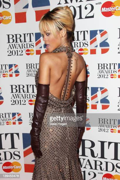 Rihanna attends The Brit Awards 2012 at The O2 Arena on February 21 2012 in London England