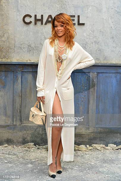 Rihanna attends the Chanel show as part of Paris Fashion Week HauteCouture Fall/Winter 20132014 at Grand Palais on July 2 2013 in Paris France
