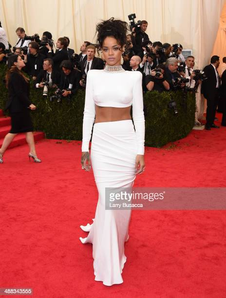"""Rihanna attends the """"Charles James: Beyond Fashion"""" Costume Institute Gala at the Metropolitan Museum of Art on May 5, 2014 in New York City."""
