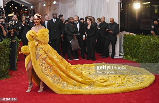"Rihanna attends the ""China: Through The Looking Glass"" Costume Institute Benefit Gala at the Metropolitan Museum of Art on May 4, 2015 in New York..."