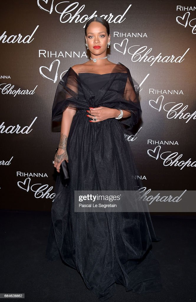 Rihanna attends the Chopard dinner in honour of her and the Rihanna X Chopard Collection during the 70th annual Cannes Film Festival on the Chopard Rooftop on May 18, 2017 in Cannes, France.