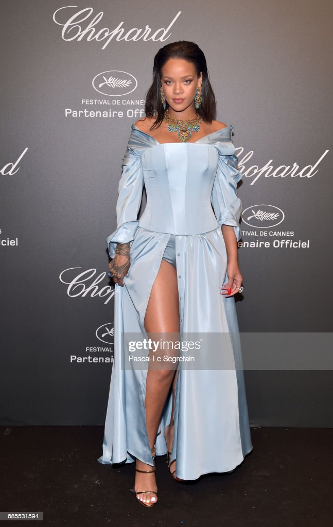 "Rihanna attends the Chopard ""SPACE Party"", hosted by Chopard's co-president Caroline Scheufele and Rihanna, at Port Canto on May 19, 2017, in Cannes, France."