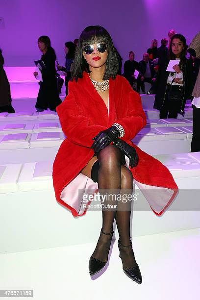 Rihanna attends the Christian Dior show as part of the Paris Fashion Week Womenswear Fall/Winter 20142015 on February 28 2014 in Paris France