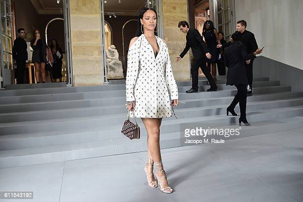 Rihanna attends the Christian Dior show as part of the Paris Fashion Week Womenswear Spring/Summer 2017 on September 30 2016 in Paris France
