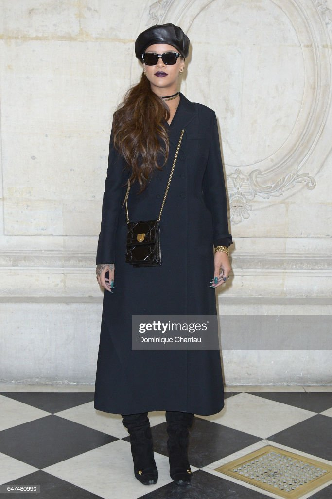 Rihanna attends the Christian Dior show as part of the Paris Fashion Week Womenswear Fall/Winter 2017/2018 on March 3, 2017 in Paris, France.