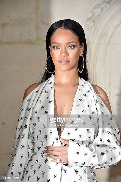 Rihanna attends the Christian Dior show of the Paris Fashion Week Womenswear Spring/Summer 2017 on September 30 2016 in Paris France