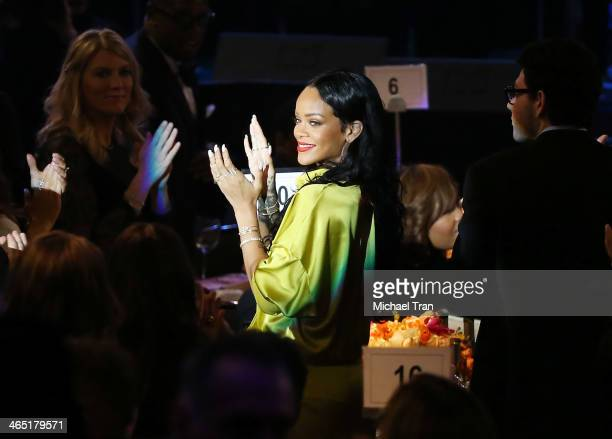 Rihanna attends the Clive Davis and The Recording Academy present The Annual PreGRAMMY Gala held at The Beverly Hilton Hotel on January 25 2014 in...