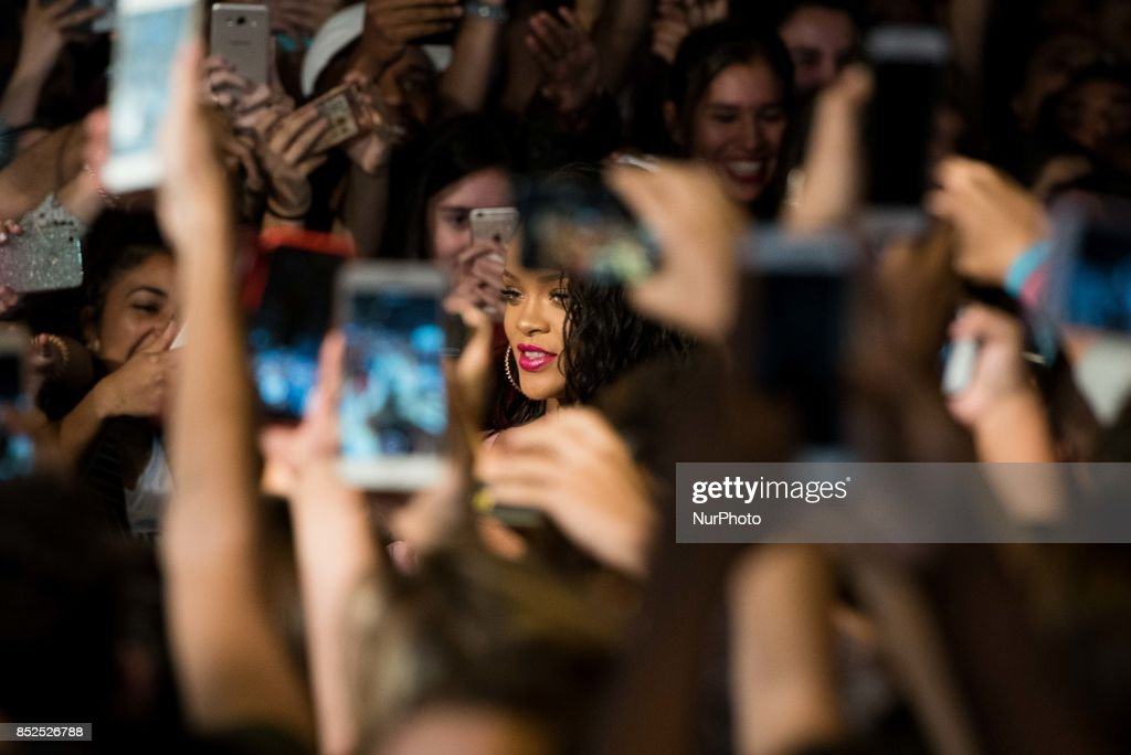 Rihanna attends the 'FENTY BEAUTY' Sephora photocall at Callao Cinema in Madrid on Sep 23, 2017