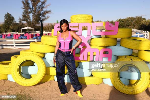 Rihanna attends the FentyXPUMA Drippin event launching the Summer '18 collection at Coachella on April 14 2018 in Thermal California