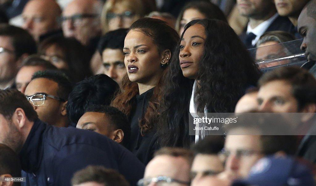 Rihanna attends the French Ligue 1 match between Paris Saint-Germain FC (PSG) and Olympique de Marseille at Parc des Princes stadium on October 4, 2015 in Paris, France.