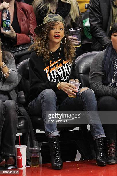 Rihanna attends the game between the Miami Heat and the Los Angeles Clippers at Staples Center on January 11 2012 in Los Angeles California