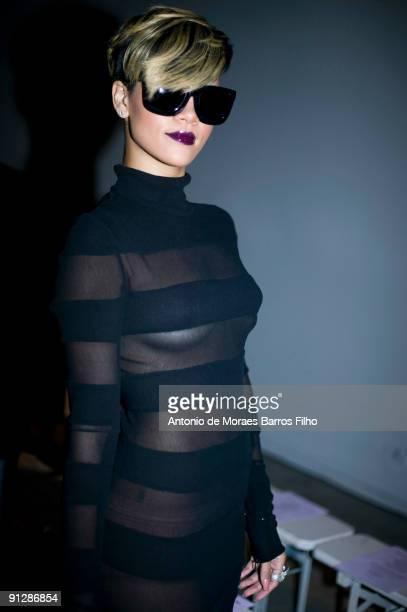 Rihanna attends the Gareth Pugh Pret a Porter show as part of the Paris Womenswear Fashion Week Spring/Summer 2010 at Palais De Tokyo on September...