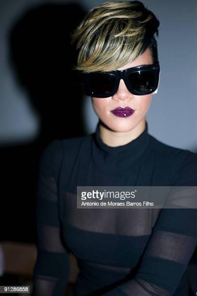 Rihanna attends the Gareth Pugh Pret a Porter show as part of the Paris Womenswear Fashion Week Spring/Summer 2010 at Palais De Tokyo on September 30...