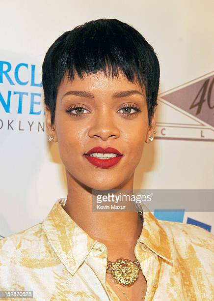 Rihanna attends the grand opening of the 40/40 Club at Barclays Center on September 27 2012 in the Brooklyn borough of New York City