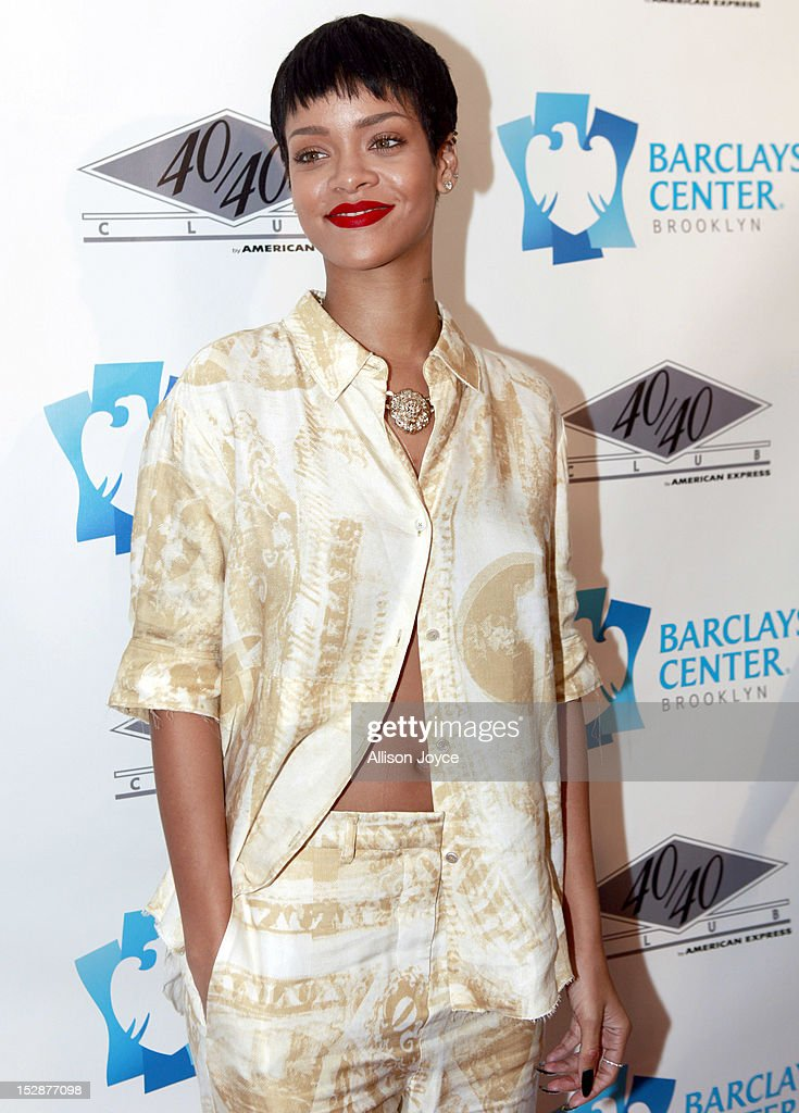 Rihanna attends the grand opening of the 40/40 Club at Barclays Center on September 27, 2012 in the Brooklyn borough of New York City.