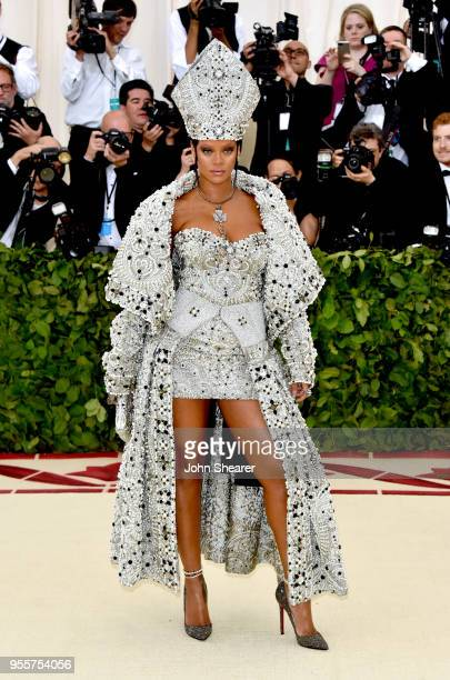 Rihanna attends the Heavenly Bodies: Fashion & The Catholic Imagination Costume Institute Gala at The Metropolitan Museum of Art on May 7, 2018 in...