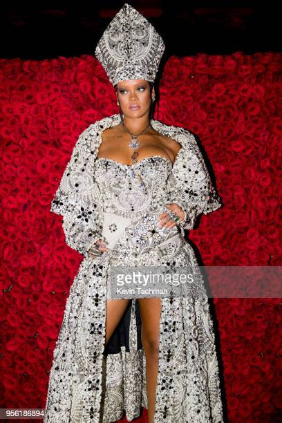 Rihanna attends the Heavenly Bodies Fashion The Catholic Imagination Costume Institute Gala at The Metropolitan Museum of Art on May 7 2018 in New...