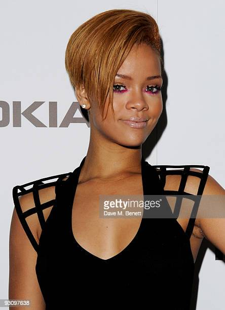 Rihanna attends the launch party for the NOKIA X6 where Rihanna will showcase new material from her new album 'Rated R' at the Brixton Academy on...