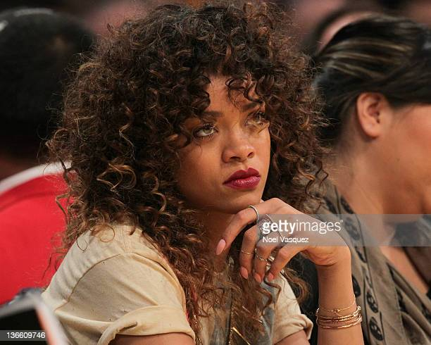 Rihanna attends the Los Angeles Lakers vs Memphis Grizzlies game at Staples Center on January on January 8 2012 in Los Angeles California