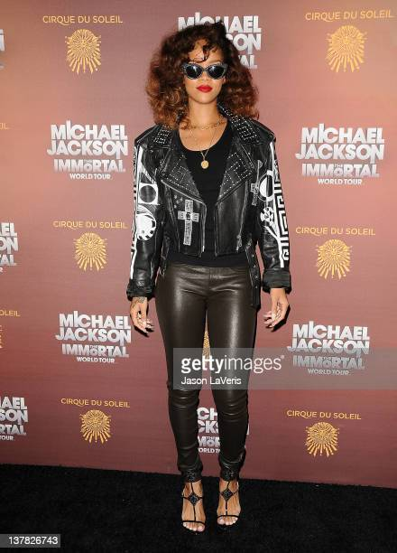 Rihanna attends the Los Angeles opening of Michael Jackson THE IMMORTAL World Tour at Staples Center on January 27 2012 in Los Angeles California