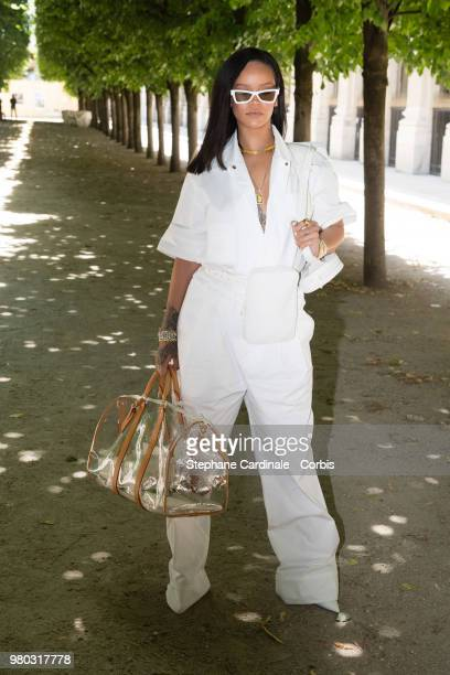 Rihanna attends the Louis Vuitton Menswear Spring/Summer 2019 show as part of Paris Fashion Week Week on June 21 2018 in Paris France