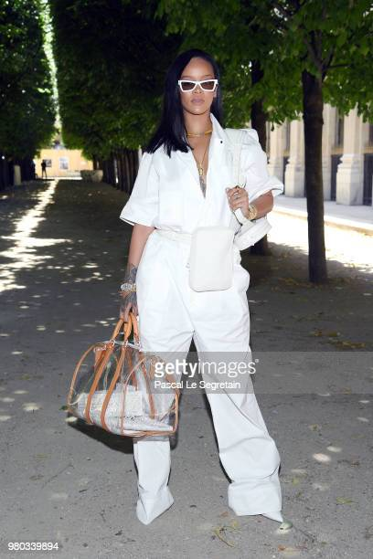 Rihanna attends the Louis Vuitton Menswear Spring/Summer 2019 show as part of Paris Fashion Week on June 21 2018 in Paris France
