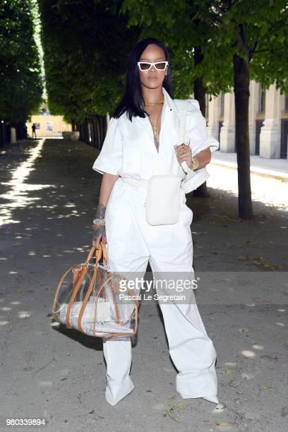 Rihanna attends the Louis Vuitton Menswear Spring/Summer 2019 show as part of Paris Fashion Week on June 21 2018 in Paris France