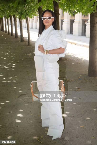 Rihanna attends the Louis Vuitton Menswear Spring/Summer 2019 show as part of Paris Fashion Week Week on June 21 2018 in Paris France