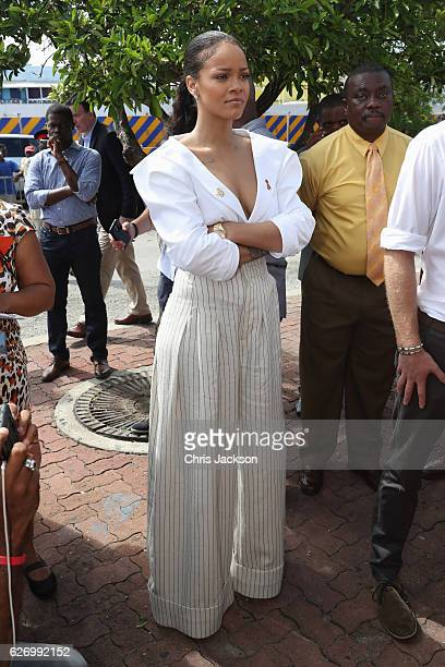 Rihanna attends the 'Man Aware' event held by the Barbados National HIV/AIDS Commission on the eleventh day of an official visit on December 1 2016...