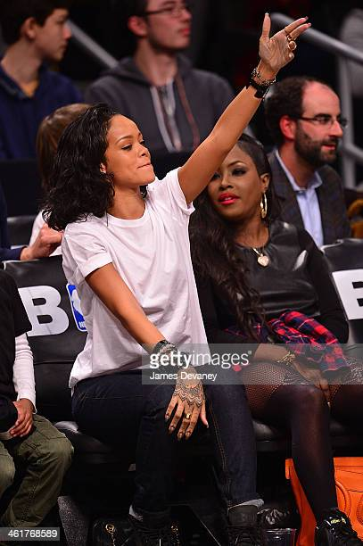 Rihanna attends the Miami Heat vs Brooklyn Nets game at Barclays Center on January 10 2014 in the Brooklyn borough of New York City