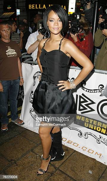 Rihanna attends the MOBO Awards Nominations Launch at Movida on August 22 2007 in London England