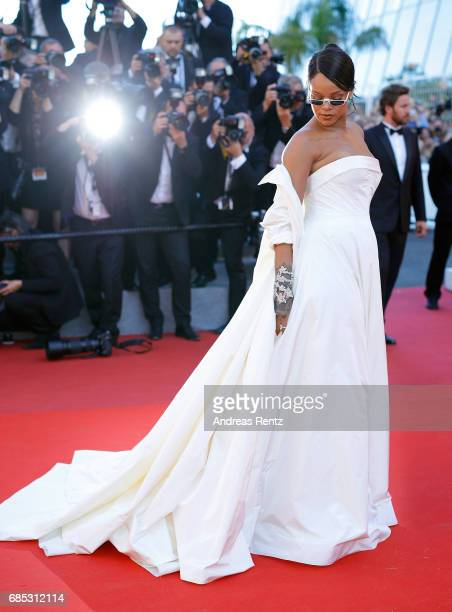 "Rihanna attends the ""Okja"" screening during the 70th annual Cannes Film Festival at Palais des Festivals on May 19, 2017 in Cannes, France."