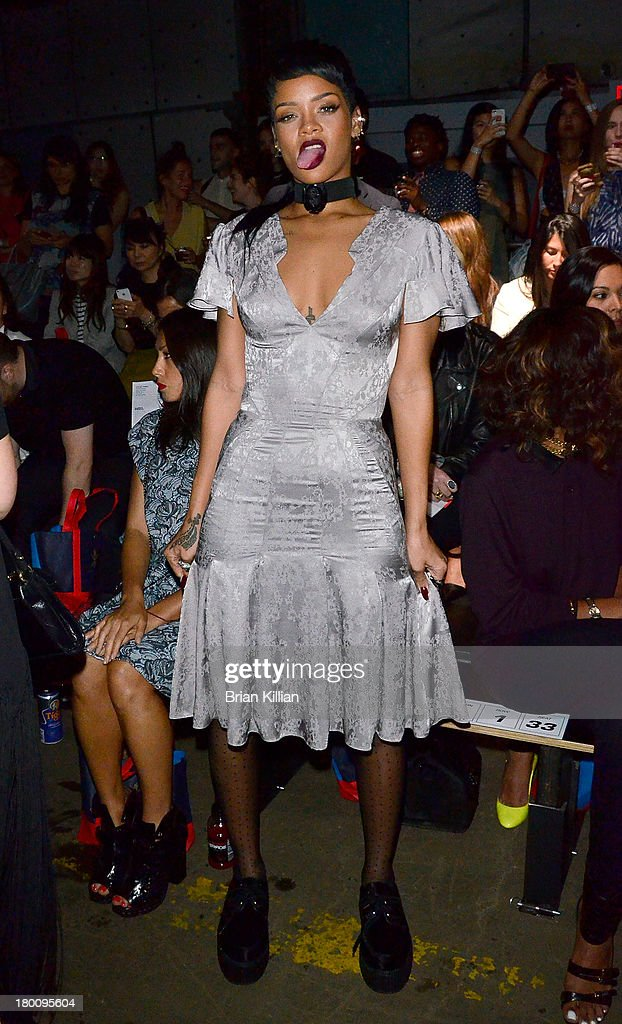 Rihanna attends the Opening Ceremony show during Spring 2014 Mercedes-Benz Fashion Week at SuperPier 25 on September 8, 2013 in New York City.