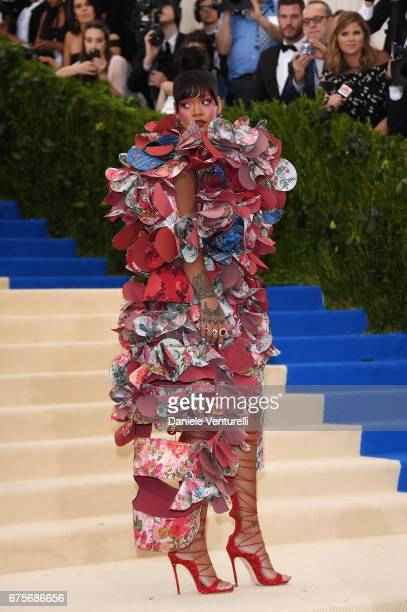 Rihanna attends the Rei Kawakubo/Comme des Garcons Art Of The InBetween Costume Institute Gala at Metropolitan Museum of Art on May 1 2017 in New...