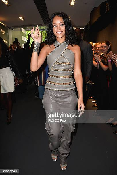Rihanna attends the 'Rogue by Rihanna' launch at Sephora ChampsElysees on June 4 2014 in Paris France