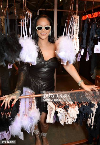 Rihanna attends the Savage X Fenty London popup shop in Shoreditch on June 15 2018 in London England