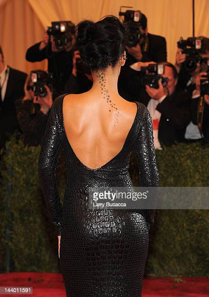 Rihanna attends the Schiaparelli And Prada Impossible Conversations Costume Institute Gala at the Metropolitan Museum of Art on May 7 2012 in New...