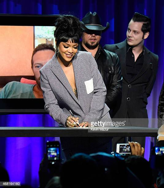 Rihanna attends the Tidal launch event #TIDALforALL at Skylight at Moynihan Station on March 30 2015 in New York City