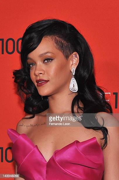 Rihanna attends the TIME 100 Gala celebrating TIME'S 100 Most Influential People In The World at Jazz at Lincoln Center on April 24 2012 in New York...