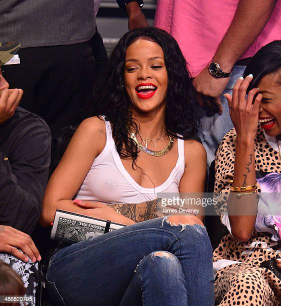 Rihanna attends the Toronto Raptors vs Brooklyn Nets playoff game at Barclays Center on April 25 2014 in New York City