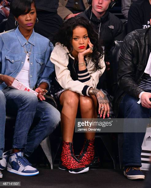 Rihanna attends the Toronto Raptors vs Brooklyn Nets playoff game at Barclays Center on April 27 2014 in New York City