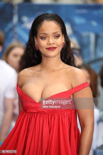 Rihanna attends the Valerian And The City Of A Thousand Planets European Premiere at Cineworld Leicester Square on July 24 2017 in London England