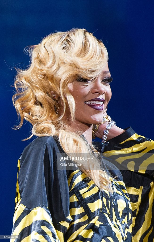 Rihanna attends/performs at Day 2 of the T in the Park festival at Balado on July 13, 2013 in Kinross, Scotland.