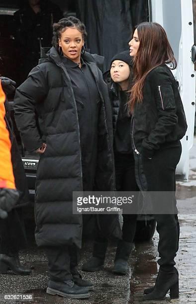 Rihanna Awkwafina and Sandra Bullock are seen on January 24 2017 in New York City