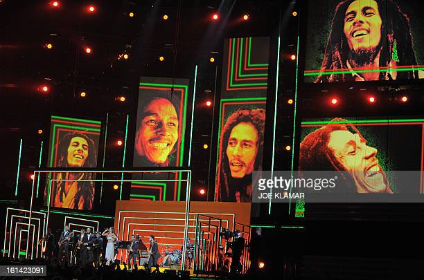 Rihanna Bruno Mars Sting Ziggy and Stephen and Damian Marley perform in tribute to Bob Marley on stage at the Staples Center during the 55th Grammy...